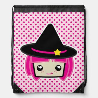 Kawaii Pink Haired Witch Drawstring Bag