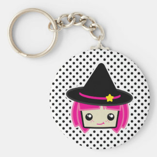 Kawaii Pink Haired Witch Keychain