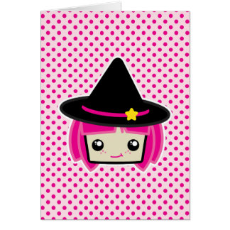 Kawaii Pink Haired Witch Note Card