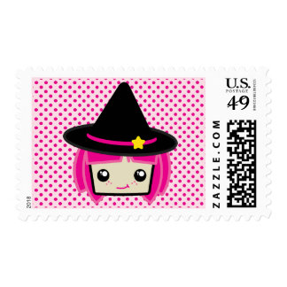 Kawaii Pink Haired Witch Postage Stamp