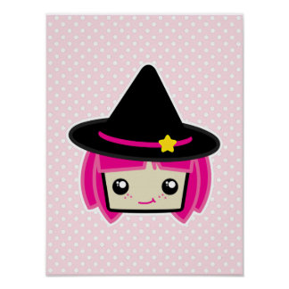 Kawaii Pink Haired Witch Poster Print