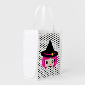 Kawaii Pink Haired Witch Reusable Bag