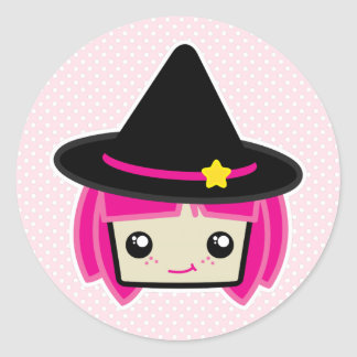 Kawaii Pink Haired Witch Stickers