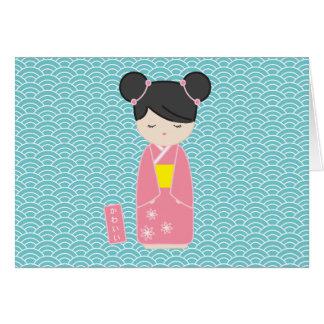 Kawaii Pink Kokeshi Card