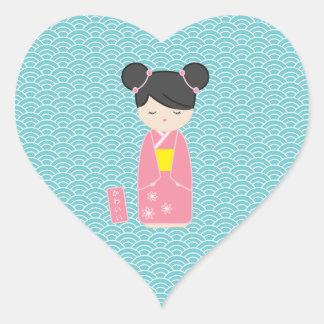 Kawaii Pink Kokeshi Heart Sticker