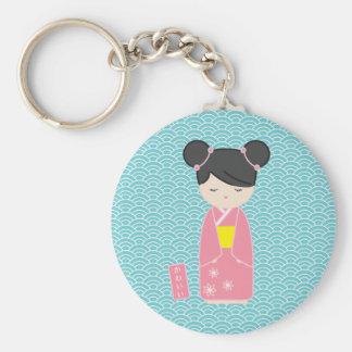 Kawaii Pink Kokeshi Keychain