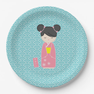 Kawaii Pink Kokeshi Paper Plate