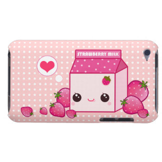 Kawaii pink milk carton with cute strawberries iPod touch Case-Mate case