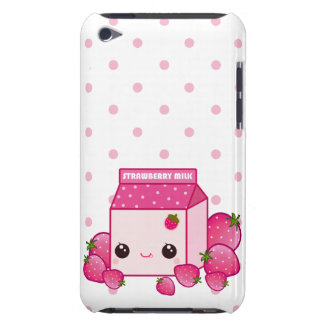 Kawaii pink milk carton with cute strawberries iPod Case-Mate case