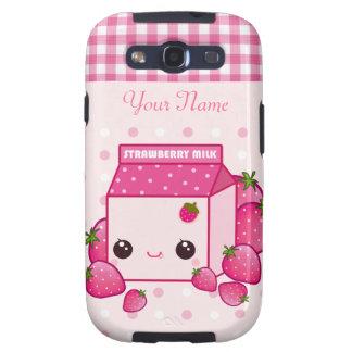 Kawaii pink milk carton with strawberries samsung galaxy s3 covers