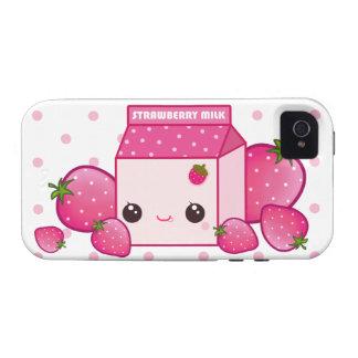 Kawaii pink milk carton with strawberries Case-Mate iPhone 4 case