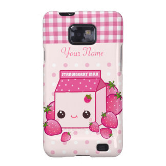 Kawaii pink milk carton with strawberries samsung galaxy s2 cases