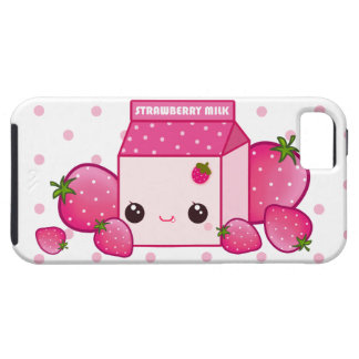 Kawaii pink milk carton with strawberries iPhone SE/5/5s case