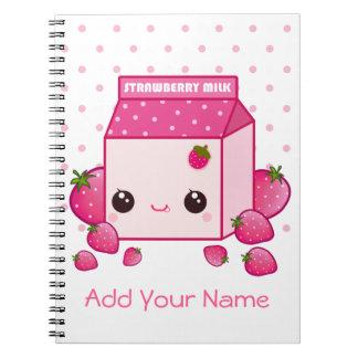 Kawaii pink milk carton with strawberries spiral notebooks