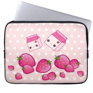 Kawaii pink milk cartons with strawberries laptop sleeves