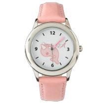 Kawaii Pink Narwhal Wrist Watch