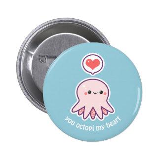 Kawaii Pink Octopus Pinback Button