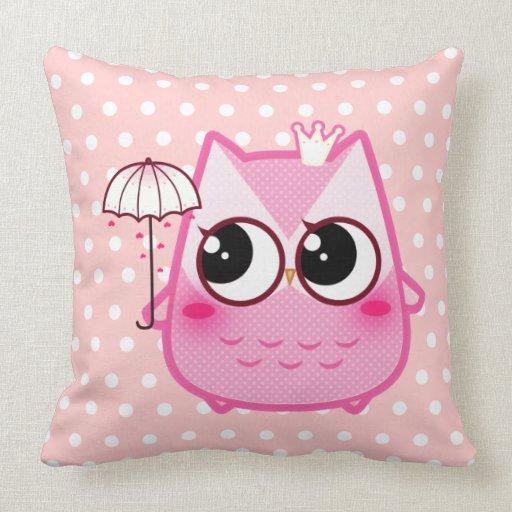 Kawaii pink owl with cute umbrella throw pillows Zazzle