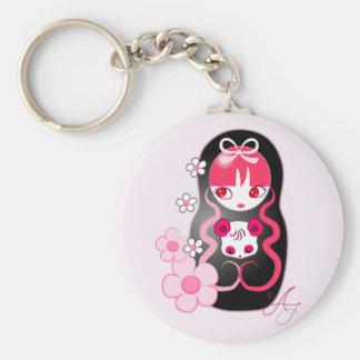 Kawaii Pink Panda Bear Matryoshka Basic Round Button Keychain