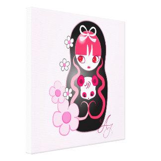 Kawaii Pink Panda Bear Matryoshka Canvas Print