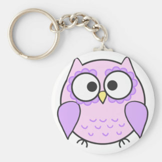 Kawaii Pink & Purple Owl Keyring Keychain