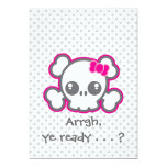 "Kawaii Pink Ribbon Skull Halloween Party Invite 5"" X 7"" Invitation Card"