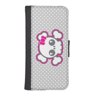 Kawaii Pink Ribbon Skull iPhone Wallet Case