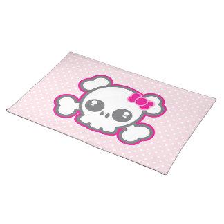 Kawaii Pink Ribbon Skull Placemat