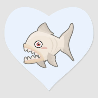 Kawaii Piranha Heart Sticker