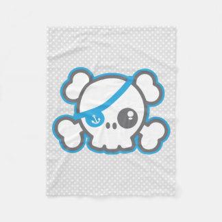 Kawaii Pirate Skull Fleece Blanket