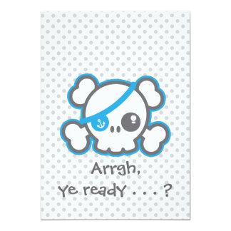 Kawaii Pirate Skull Halloween Party Invitation