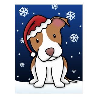 Kawaii Pit Bull Christmas Postcard