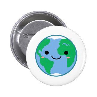 Kawaii Planet Earth Pinback Button