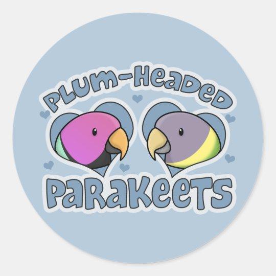 Kawaii Plum Headed Parakeet Classic Round Sticker