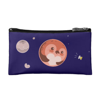 Kawaii Pluto Penguin Planet and Moons Cosmetics Bags
