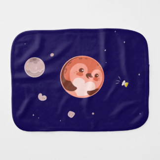 Kawaii Pluto Penguin Planet and Moons Burp Cloth