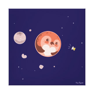 Kawaii Pluto Penguin Planet and Moons Canvas Print