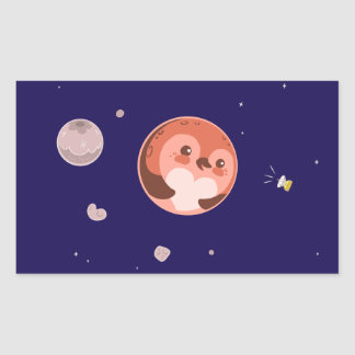 Kawaii Pluto Penguin Planet and Moons Rectangular Sticker