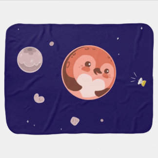 Kawaii Pluto Penguin Planet and Moons Stroller Blanket