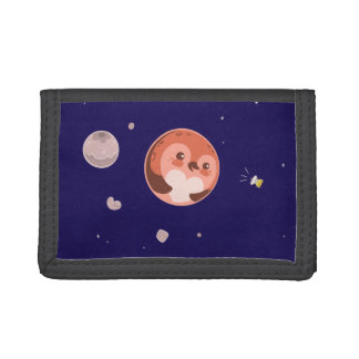 Kawaii Pluto Penguin Planet and Moons Tri-fold Wallets