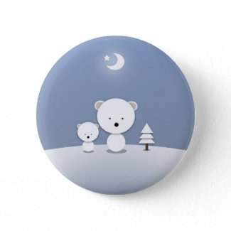 Kawaii Polar Bears Holiday Pin Cute! button