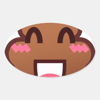 kawaii poop emojis oval sticker