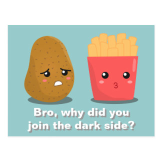 Kawaii Potato and French Fries and the Dark Side Postcards