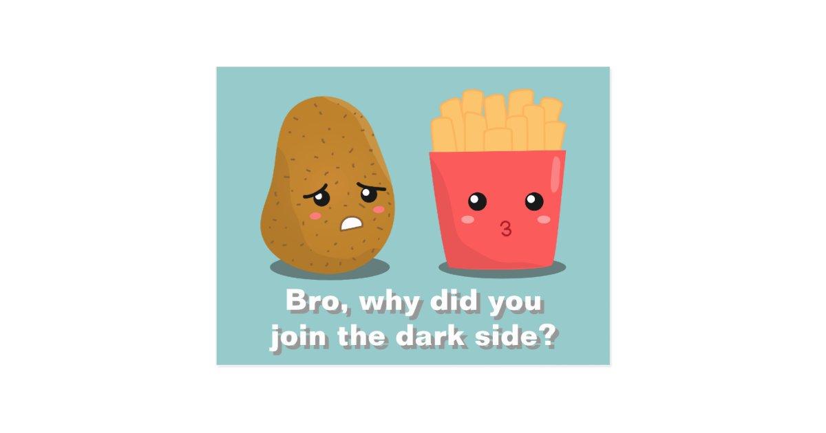 Kawaii Potato And French Fries And The Dark Side Postcard