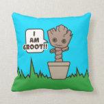 Kawaii Potted Groot Throw Pillow