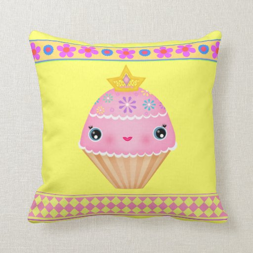 Kawaii Princess Cupcake American MoJo Throw Pillow