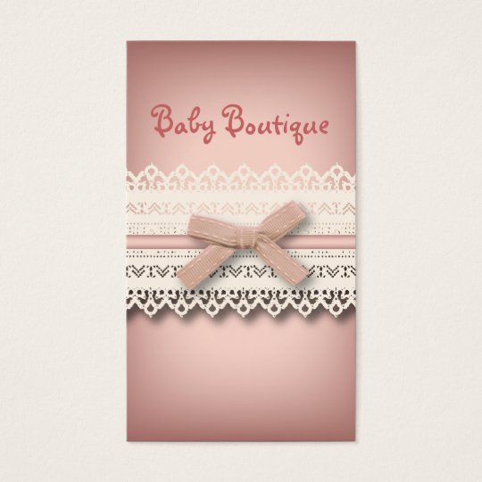 Kawaii princess girly chic white lace pink bow business card