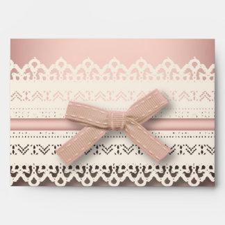 Kawaii princess girly chic white lace pink bow envelope