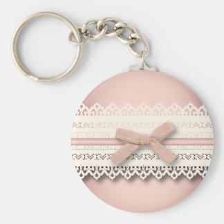 Kawaii princess girly chic white lace pink bow keychain