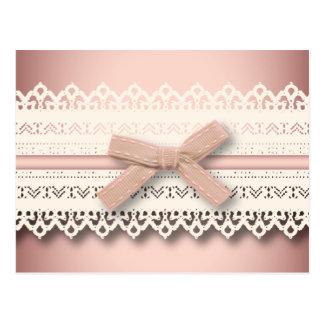 Kawaii princess girly chic white lace pink bow postcard